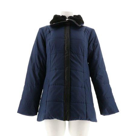 Dennis Basso Double Collar Puffer Jacket Faux Mink Trim A271109