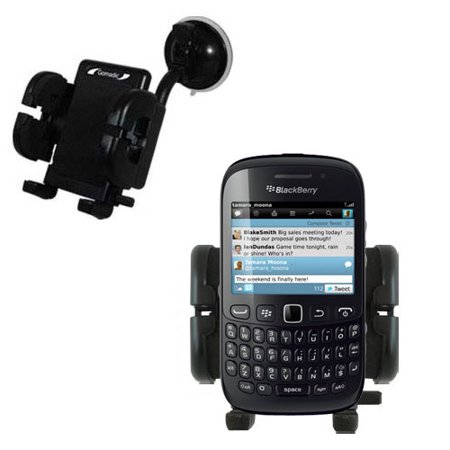 Blackberry Curve Cradle (Gomadic Brand Flexible Car Auto Windshield Holder Mount designed for the Blackberry Curve 9220 - Gooseneck Suction Cup Style)