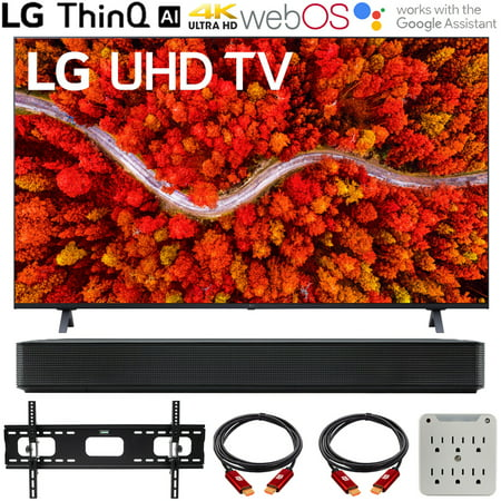 LG 50UP8000PUA 50 Inch 4K UHD Smart webOS TV (2021 Model) Bundle with LG SK1 2.0-Channel Compact Sound Bar with Bluetooth, 37-70 inch TV Wall Mount Bracket Bundle and 6-Outlet Surge Adapter
