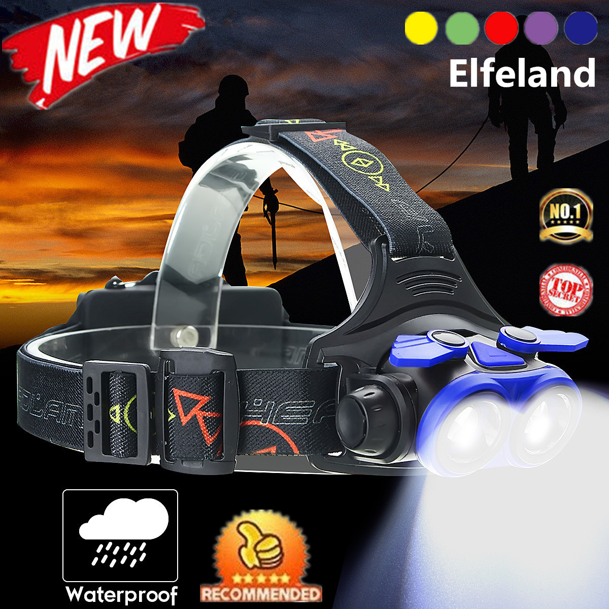 Elfeland 5000 Lumens T6 LED Telescopic Zoom Headlamp Headlight Flashlight Torch Waterproof 4 Modes + USB Cable For Camping Fishing Hiking