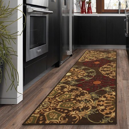 Ottomanson Ottohome Collection Contemporary Damask Design Non-Slip Rubber Backing Area or Runner Rug Collection Contemporary Area Rugs