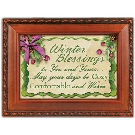 Winter Blessings Woodgrain Cottage Garden Traditional Music Box Plays Winter Wonderland
