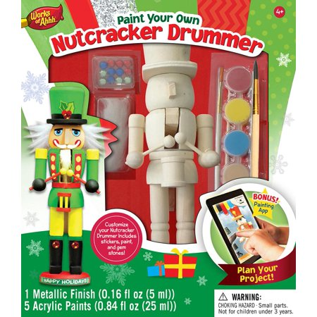 MasterPieces Works of Ahhh…Nutcracker Drummer Holiday Wood Paint Kit (Nutcracker Kit)