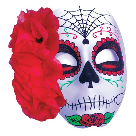Halloween Day of the Dead Sugar Skull Spider Web Rose Mask, Black Red - Day Of The Dead Halloween Masks