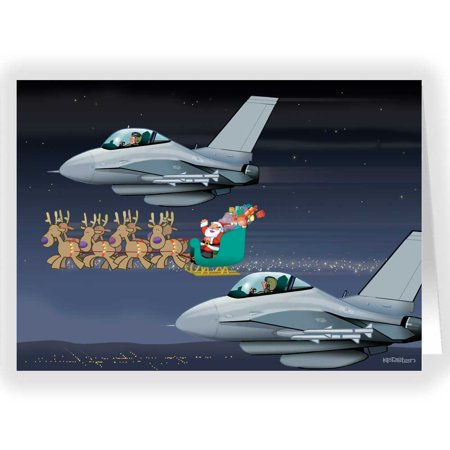 air force christmas card military 18 cards envelopes - Airplane Christmas Cards