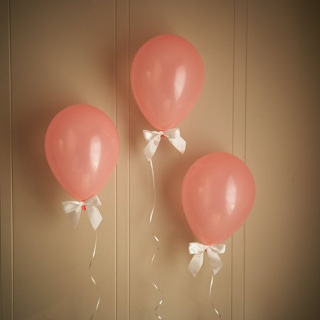 Balloons With Lights (Coral Baby Shower Decorations.  Ships in 1-3 Business Days.  Light Coral Balloons with White Bows 8CT + Curling)