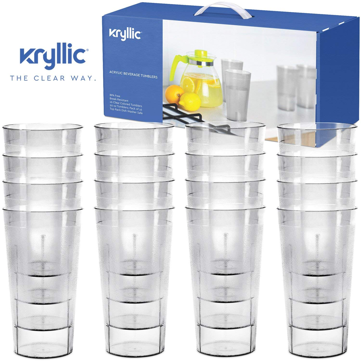 Reusable Plastic Cup Drinkware Tumblers 16 Clear break resistant 20 oz dishwasher safe drinking stacking water... by Kryllic