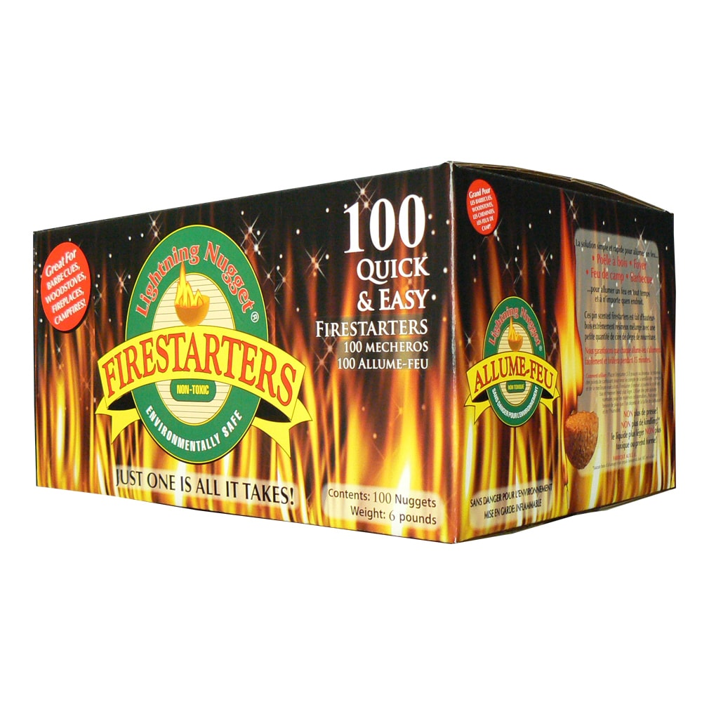 Firestarters 100Lightning Nuggets Fire Starting Non Toxic Pine Scent BBQ Camping