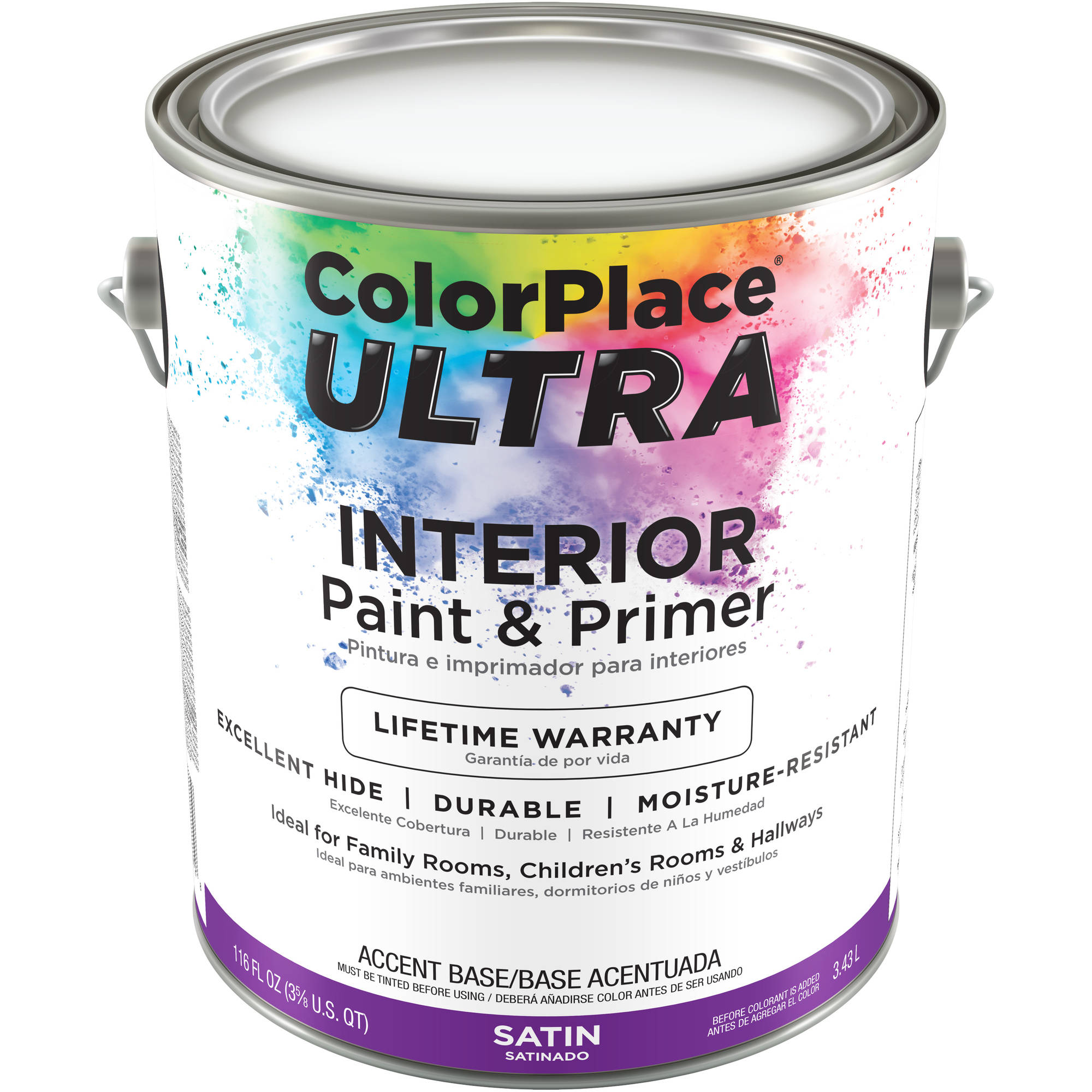 color place ultra satin interior accent base paint and primer, 1 gal