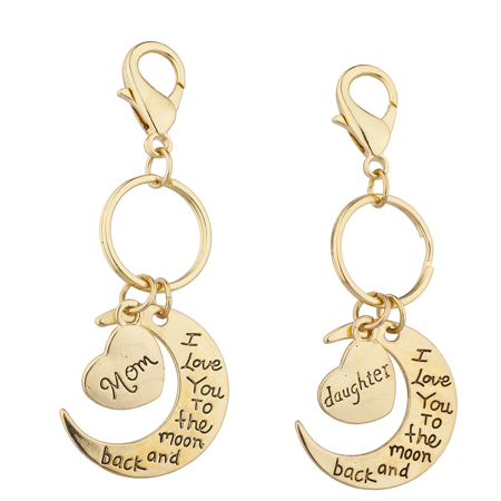Lux Accessories Goldtone Mom n Daughter I love you to the Moon and Back Keychain