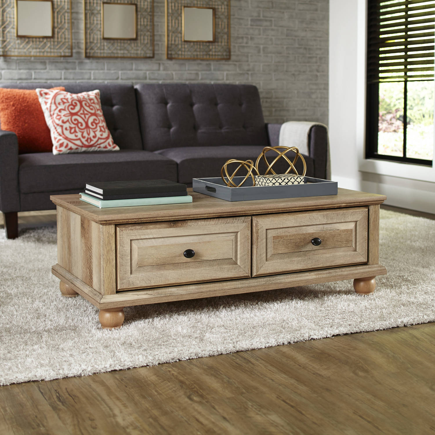 Better Homes & Gardens Crossmill Coffee Table, Weathered Finish