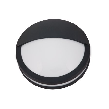 NICOR Lighting 12.5-Inch Round Die-Cast Aluminum Outdoor Wall Mount Light Fixture with Frosted Polycarbonate Lens, Black -