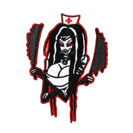 Busty Nightmare Nurse Patch Sexy Fanged Horror Girl Kreepsville Iron On Applique