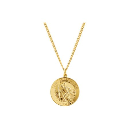 """24K Gold Plated Sterling Silver 25mm St. Christopher Medal 24"""" Necklace"""
