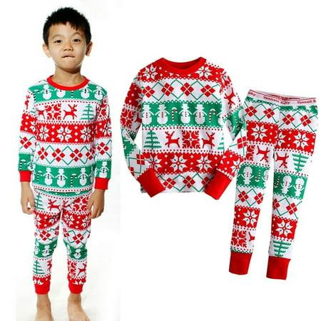 df19c04e2 Honganda - Toddler Baby Kids Girls Boys Xmas Snowflake Nightwear ...
