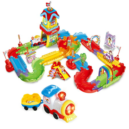 Old Railroad Train (Electric Train Set for Kids ,with Lights and Sound Colorful Tracks Battery Operated Railway Car Set with 3D Puzzles for Kids Christmas Train Toys F-250)