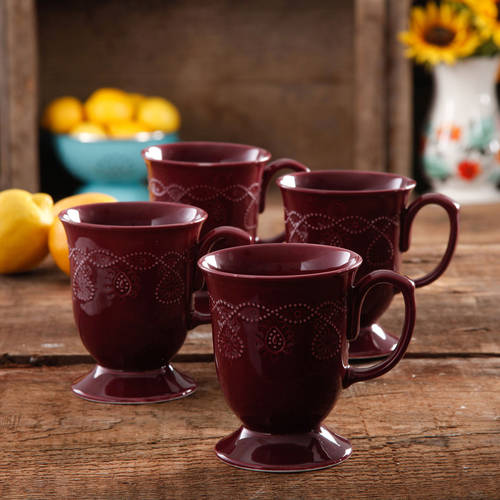 The Pioneer Woman Cowgirl Lace 4-Piece Mug Set
