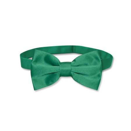Vesuvio Napoli BOWTIE Solid EMERALD GREEN Color Men's Bow Tie for Tuxedo or Suit - Lighted Bow Tie