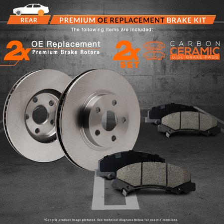 Max Brakes Rear Premium Brake Kit [ OE Series Rotors + Ceramic Pads ] KT019042 | Fits: 2006 06 Acura MDX - image 7 of 8