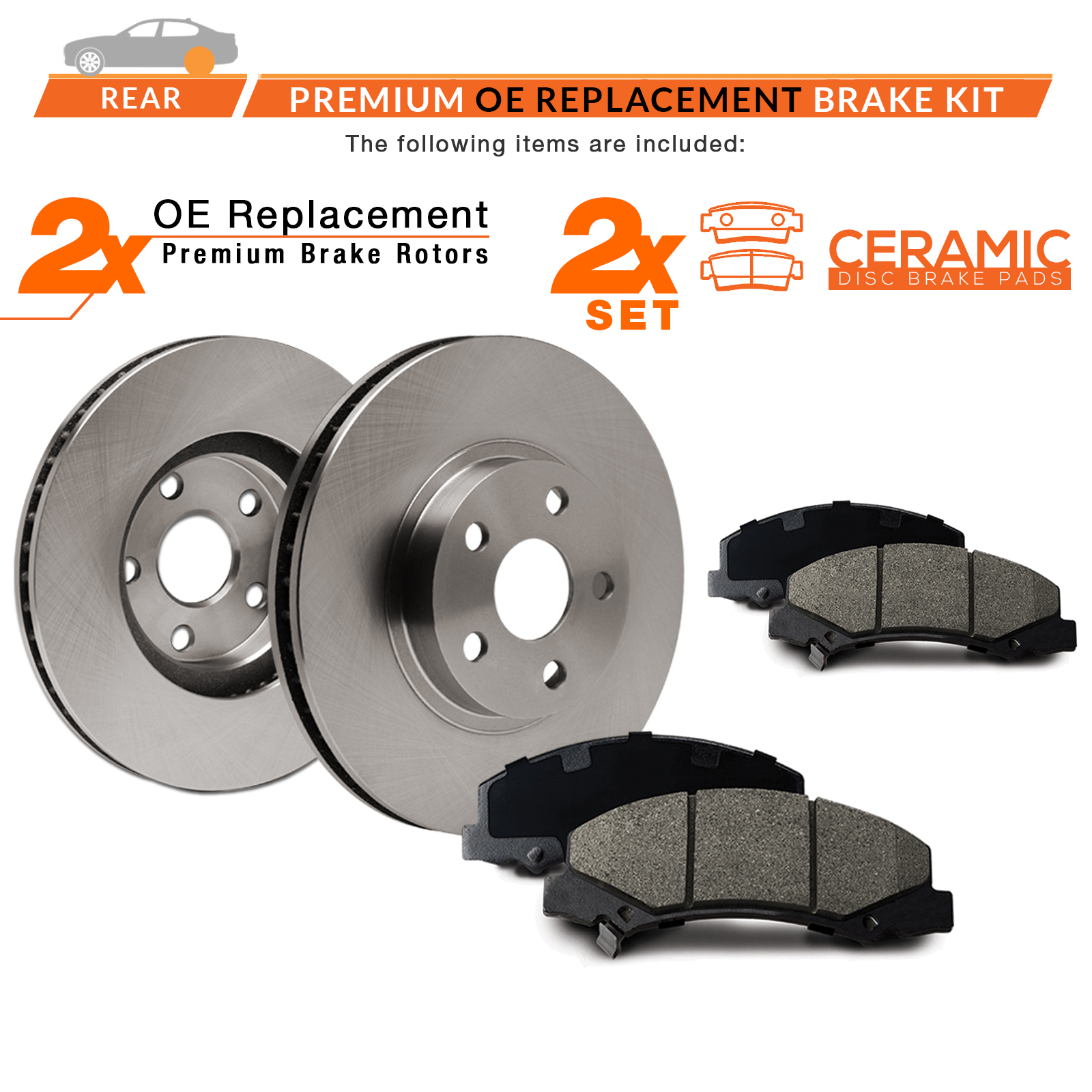 TA076742 Max Brakes Rear Premium Brake Kit Fits: 2011 11 2012 12 2013 13 Chevy Impala OE Series Rotors + Metallic Pads