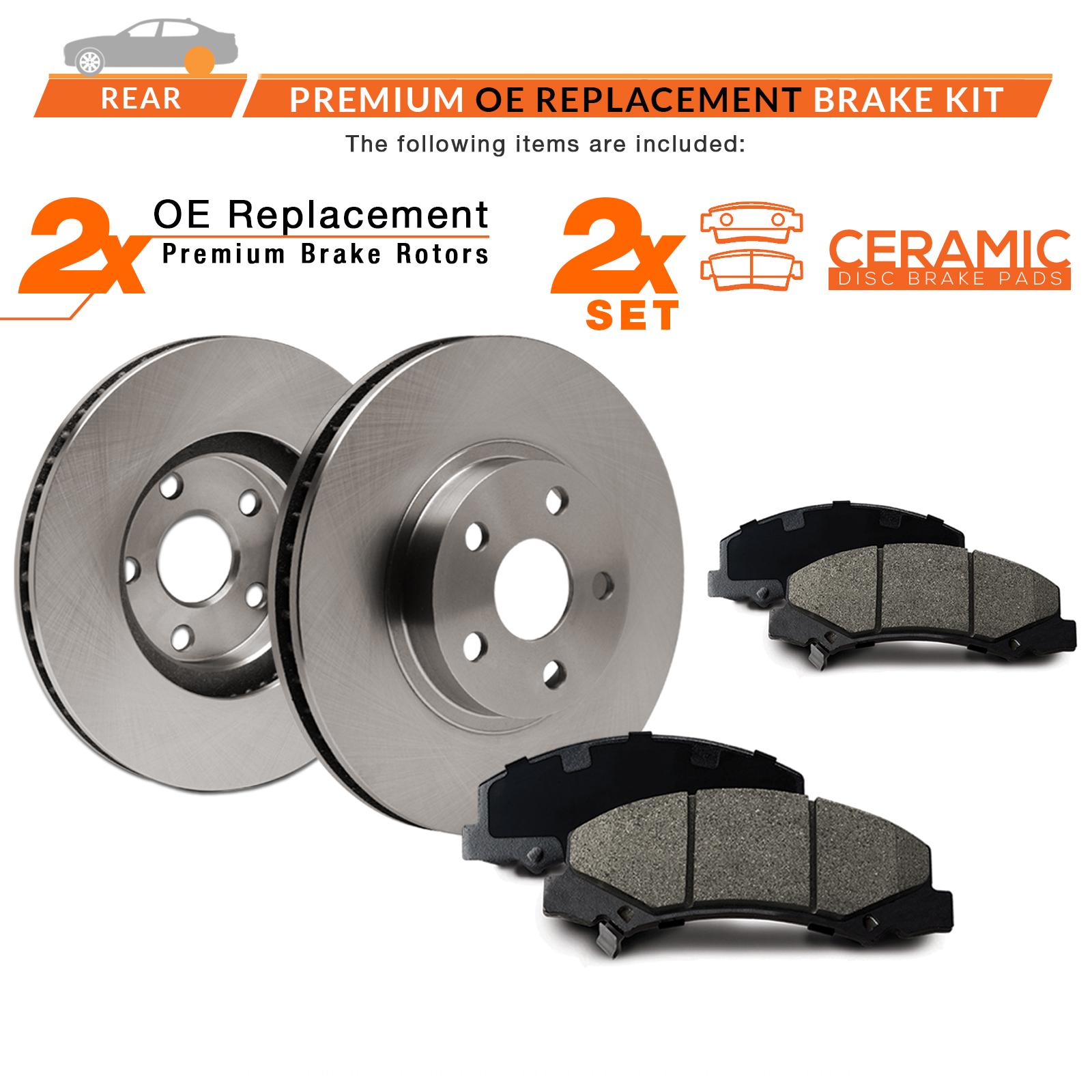 Max Brakes Front /& Rear Premium OE Rotors and Ceramic Pads Brake Kit KT171543-1
