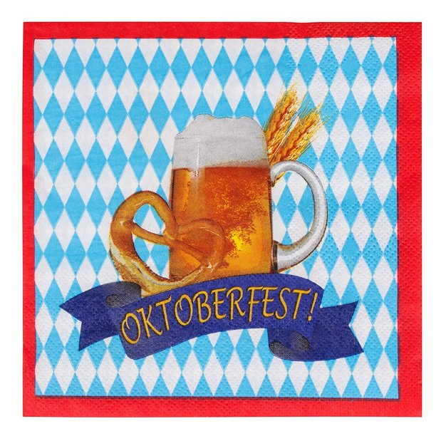 cocktail napkins 100 pack disposable paper napkins oktoberfest party supplies 2 ply beer pretzel banner design blue white and red unfolded 13 x 13 inches folded 6 5 x 6 5 inches walmart com walmart com walmart