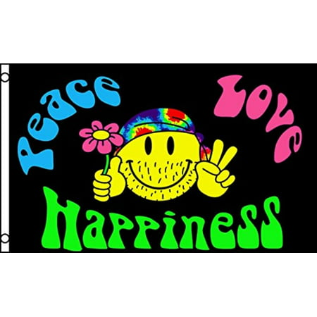 Peace Love and Happiness Flag Hippie Party Banner Sign Pennant New 3x5, Home and Holiday Flags By Home and Holiday