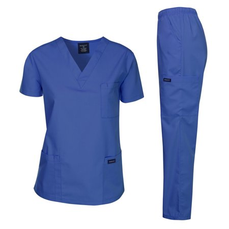 Dagacci Scrubs Medical Uniform Unisex Scrubs Set Medical Scrubs Top and Pants (Royal Blue, Small)
