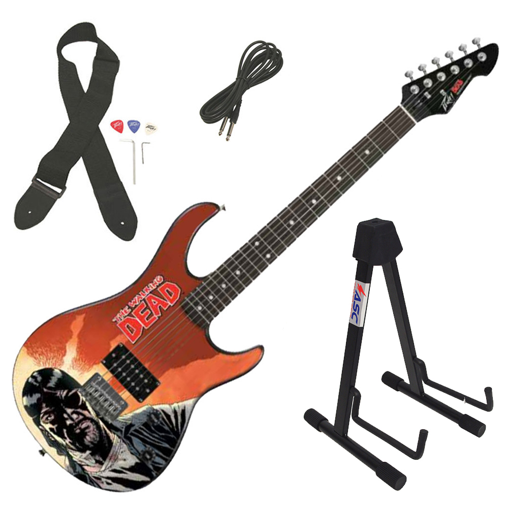 Peavey Rockmaster The Walking Dead Governer Red 43 Full Electric Guitar & Stand