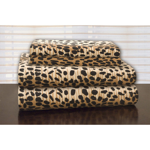Pointehaven Heavy Weight Leopard Flannel Sheet Set