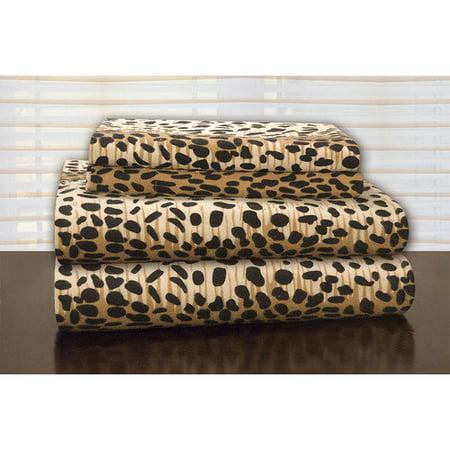 Pointehaven Heavy Weight Leopard Flannel Sheet Set