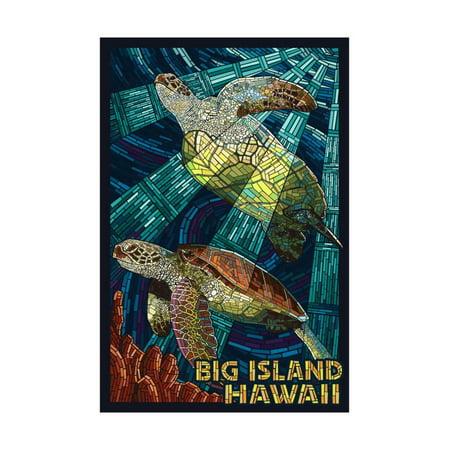 Big Island, Hawaii - Sea Turtle - Mosaic Print Wall Art By Lantern Press - Mosaic Turtle