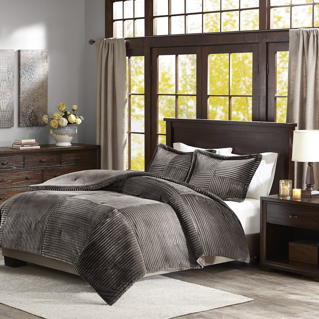 Parker Corduroy Plush Comforter Mini Set Grey Full/Queen, This plush comforter mini set features a corduroy like pattern creating a cozy and inviting look..., By Premier Comfort