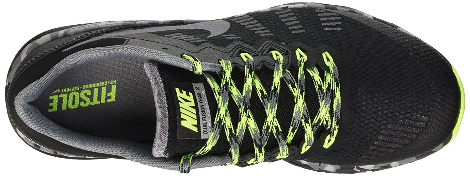 Men's Nike Dual Fusion Trail 2 Running Shoe Black/Volt/Wolf Grey