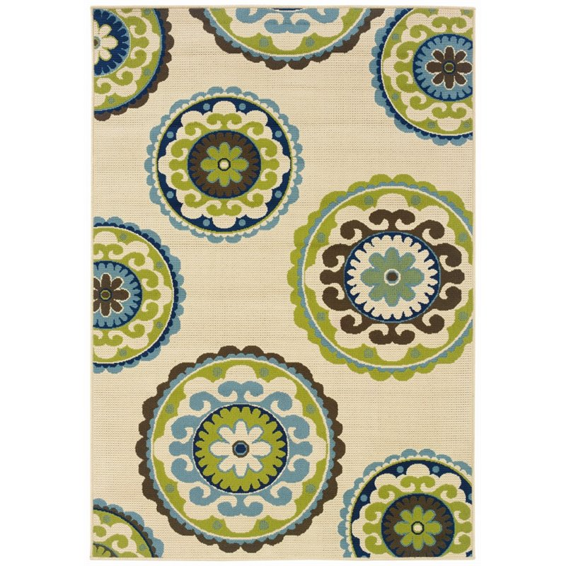 Sphinx Caspian Area Rugs - 859J6 Outdoor Ivory Patio Retro Floral Circles Rug