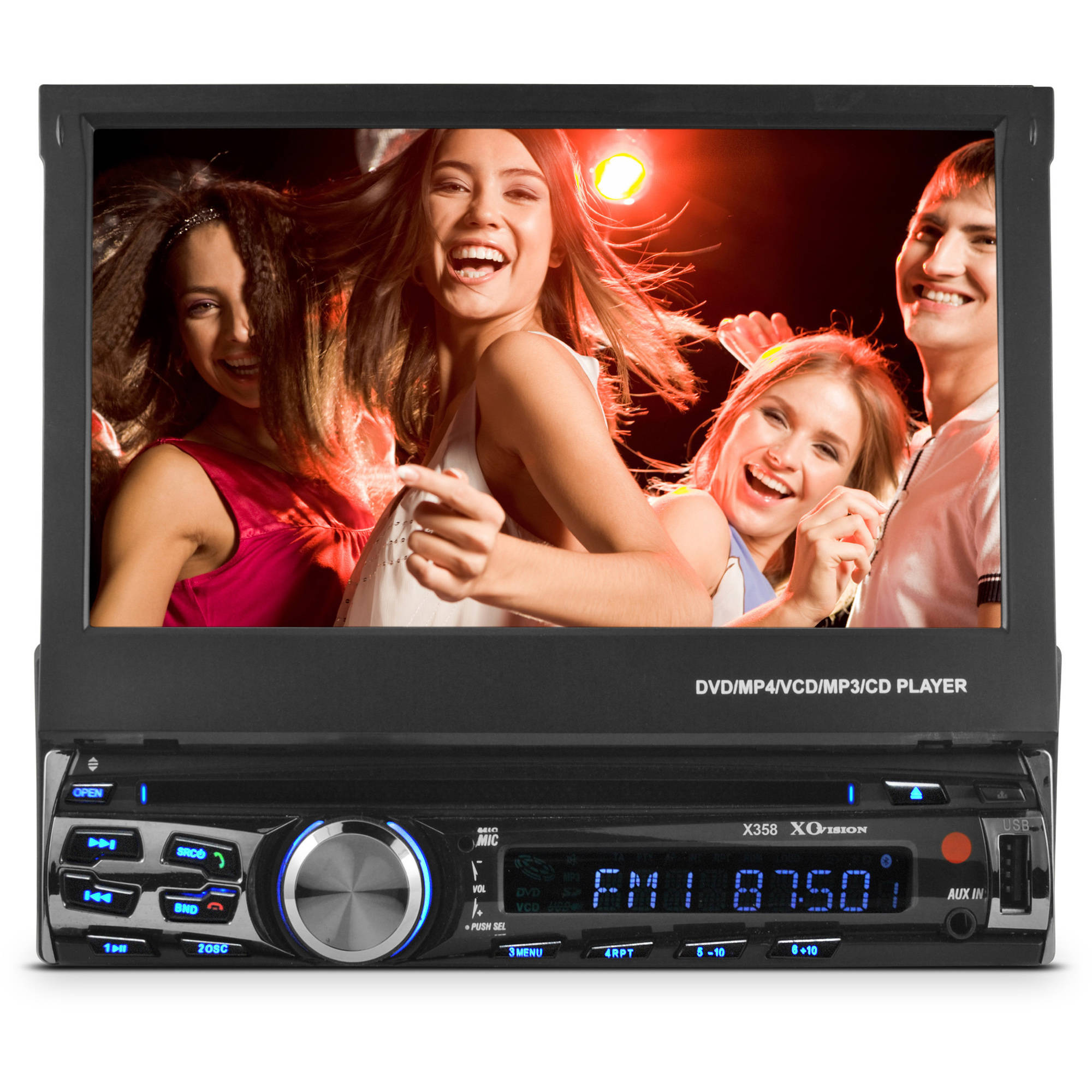 "XO Vision X358 7"" In-Dash Touchscreen DVD Receiver with Bluetooth"