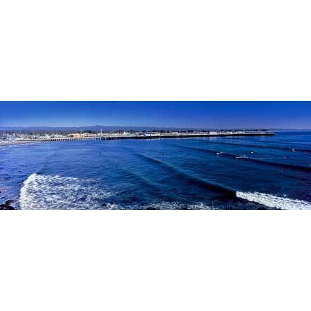 Elevated View Of Waves On Beach Santa Cruz Lighthouse Santa Cruz California Usa Poster Print