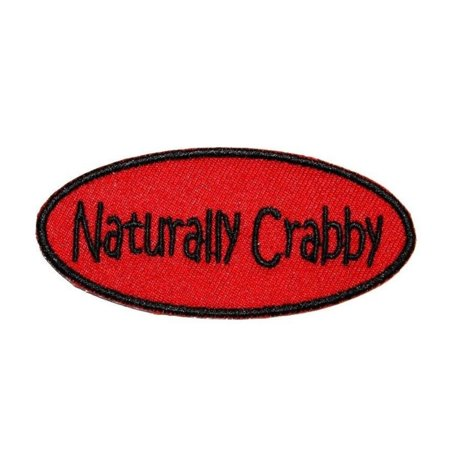 Naturally Crabby Name Tag Patch ID Badge Novelty Embroidered Iron On Applique