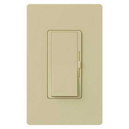 Lutron Diva DVFSQ 1-Pole 3-Speed 3-Way Paddle Fan Control Switch, 120 V, 1.5 A, Ivory Plate, Ivory Switch, Metal