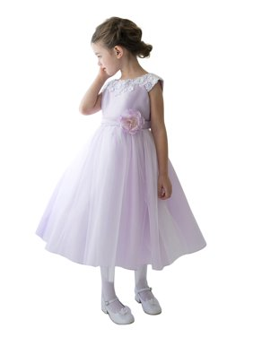 93d2fdcb596 Product Image Efavormart Lustrous Satin and Tulle Dress with Crochet Trim  and Flower Birthday Girl Dress Junior Flower