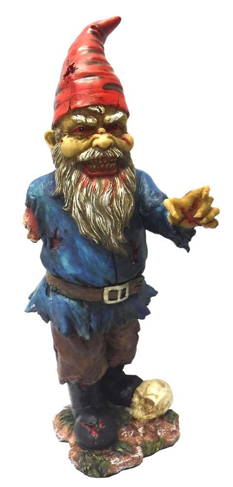 11.75 Inch Scary Zombie Garden Gnome with One Arm and Skull Statue, Perfect gift for those that love Zombie By PTC by