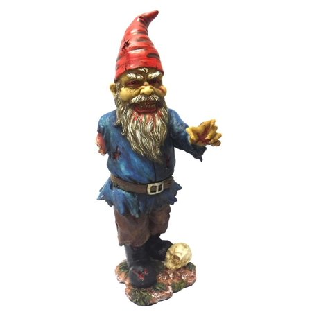 11.75 Inch Scary Zombie Garden Gnome with One Arm and Skull Statue, Perfect gift for those that love Zombie By PTC - Scary Gnomes For Sale