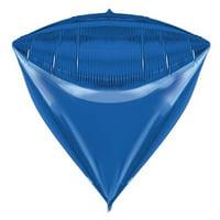 Balloons & Weights 4885Blue 3-D Diamond Triangle Foil Mylar Balloons, Blue - 25 Piece