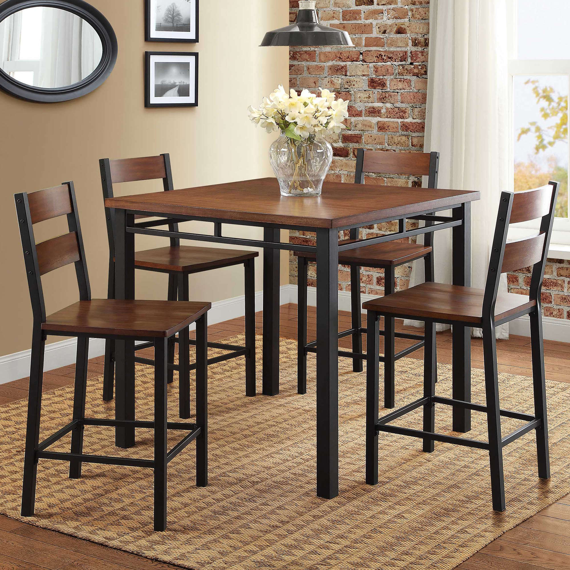 Better Homes U0026 Gardens Mercer 5 Piece Counter Height Dining Set, Vintage  Oak   Walmart.com