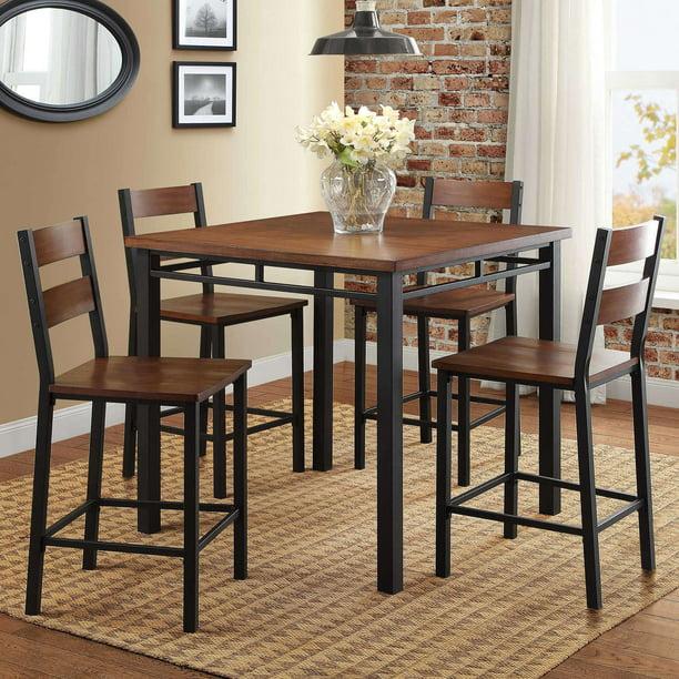 Tufted Chaise Lounge Chair, Better Homes Gardens Austen 5 Piece Counter Height Dining Set Vintage Oak Walmart Com Walmart Com