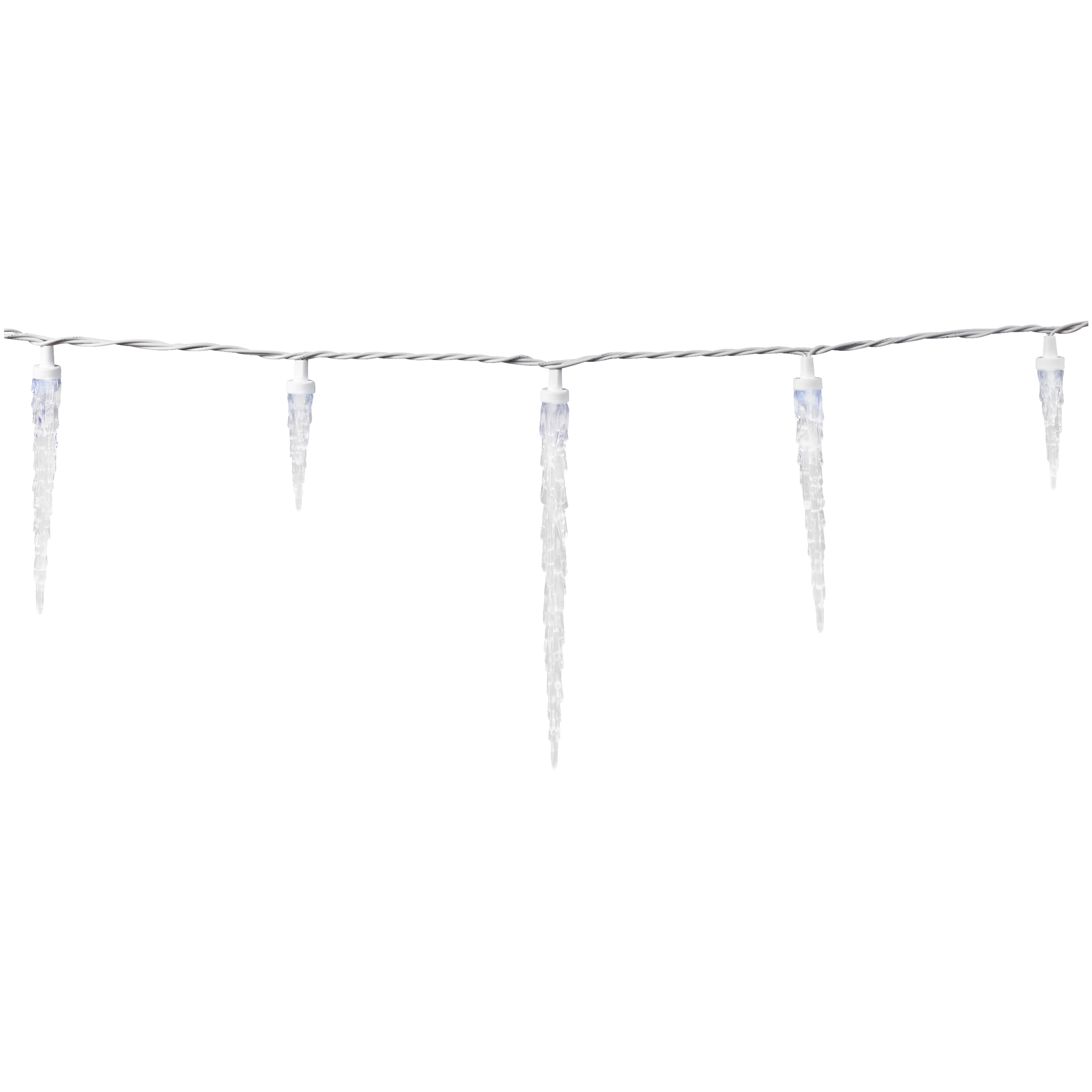 Holiday Time 25 Led Twinkling Icicle Lights White And Blue With