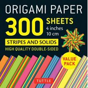 "Origami Paper 300 sheets Stripes and Solids 4"" (10 cm) : Tuttle Origami Paper: High-Quality Origami Sheets Printed with 12 Different Designs"