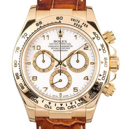 Pre-Owned Rolex Daytona 116518 40mm Yellow Gold White Automatic 1 Year Warranty (Rolex 2018)
