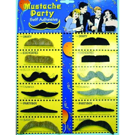 Assorted Party Costume Mustaches Set of 12 One Size - image 1 of 1
