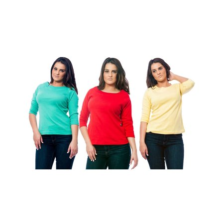 Up2date Fashion's Women's Knit Boat Neck Top 3-Piece Combo in Green, Red, and (3 Piece Blouse)